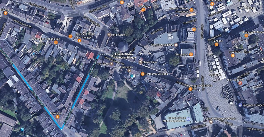 Larger satellite view of area in Mönchengladbach, Germany where the Joseph Pilates memorial plaque can be located. also shows where you can explore the open markets and cafes.