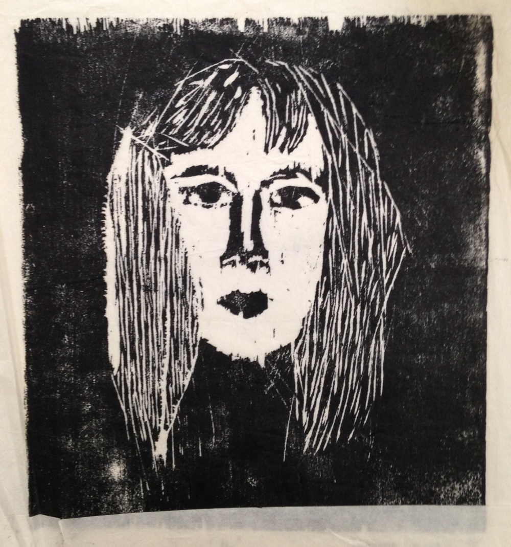 Figure  3 : Self Portrait, age 16.    My bangs never would lay straight.