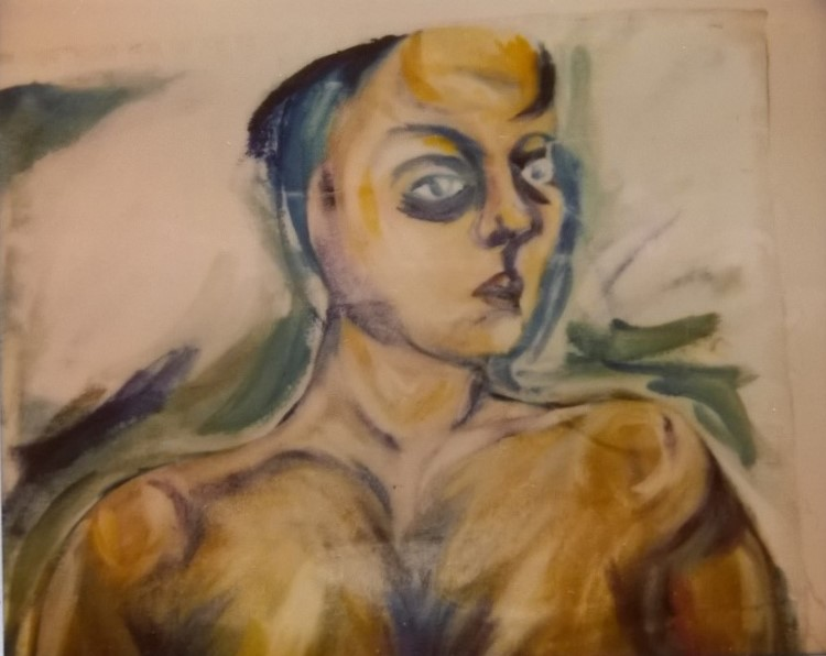 Figure  2 : Self-portrait, age 20. Abandoned in the ugly stage.    I look at it now and think, why didn't I finish that?