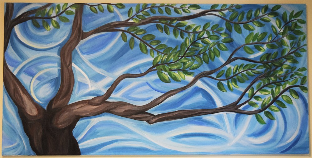 "Figure 3: Painting called ""Dancing Tree"". Acrylic on canvas. 24x 48"