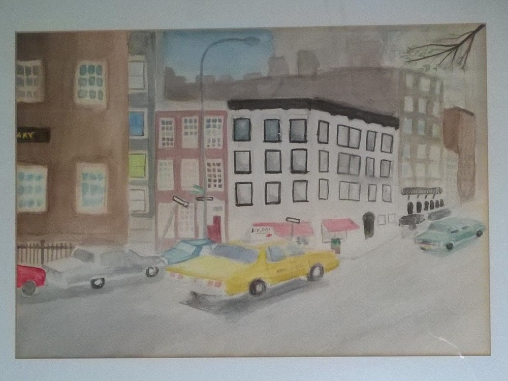 Figure 5: Christopher Street.  Watercolor on paper.  Age 14.