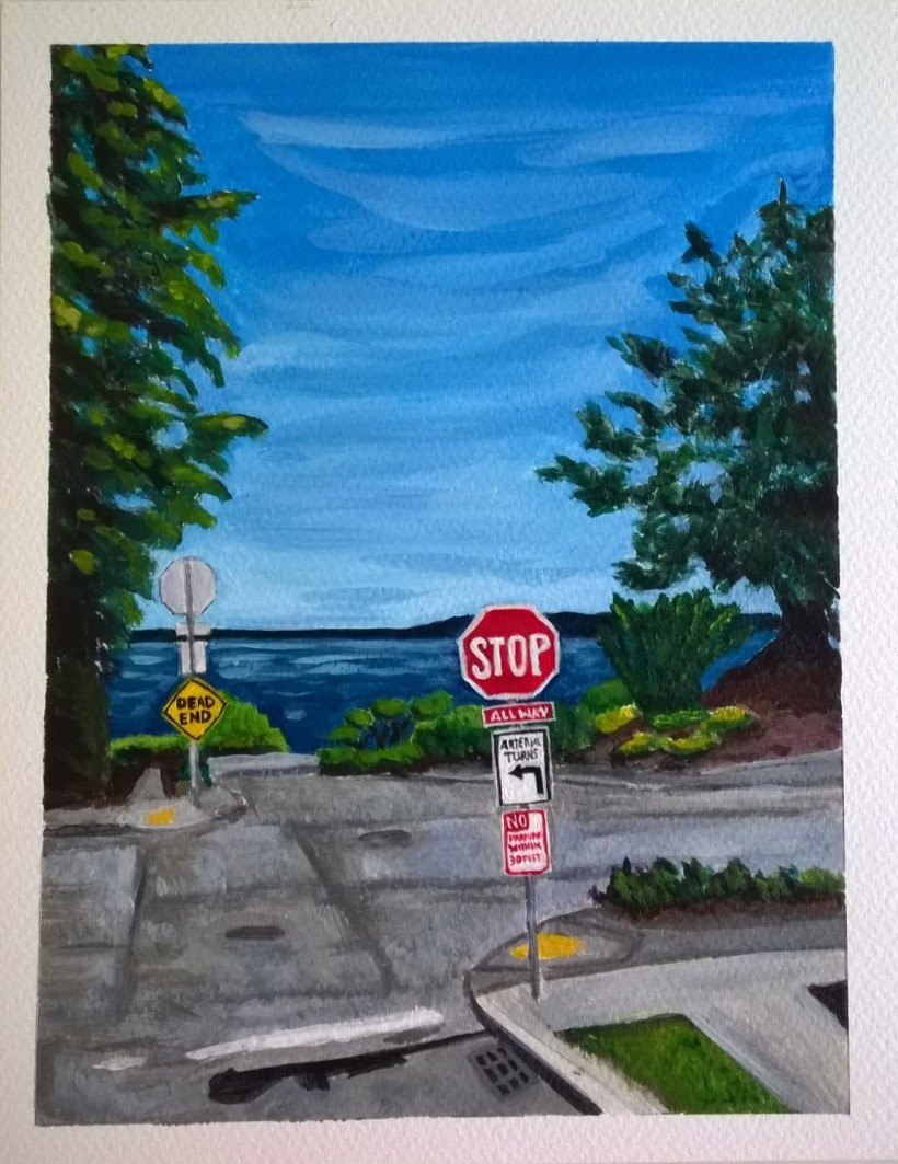 Figure 6: Stop. Dead End. Acrylic on paper 8x10.