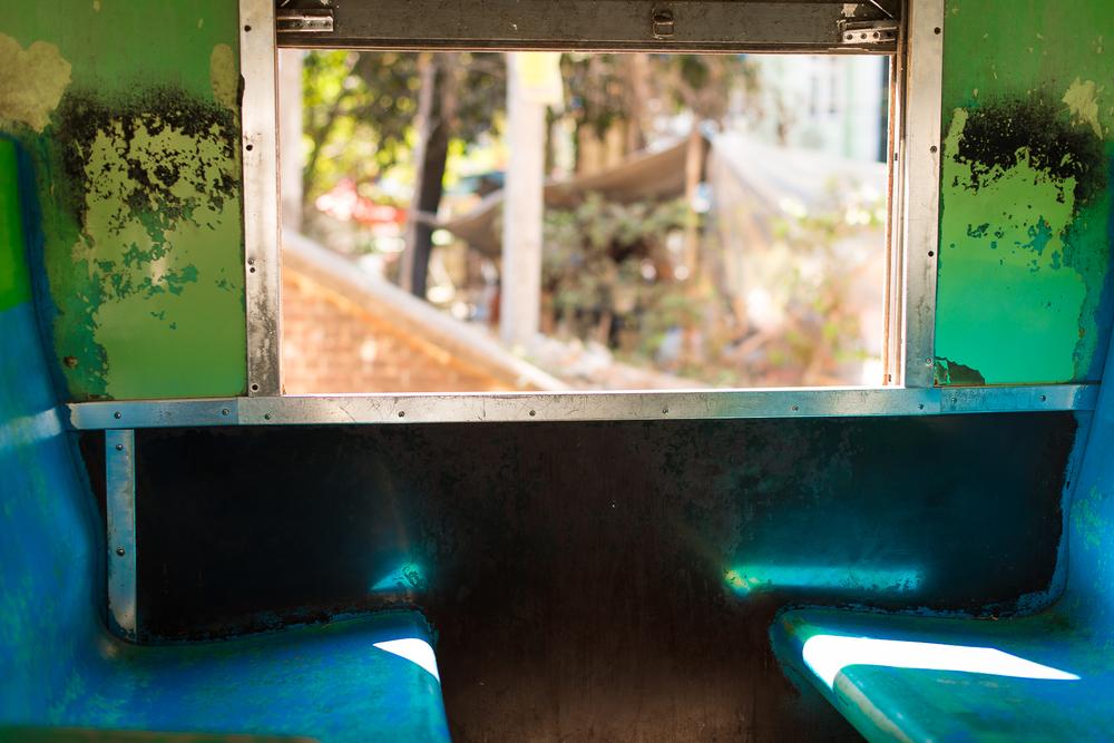 Circle train seats. Yangon, Myanmar