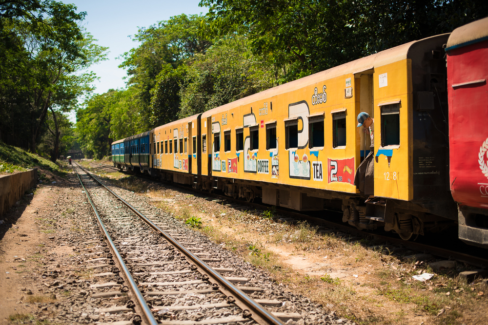 View of our train car after we decided to ditch it and walk. Yangon, Myanmar