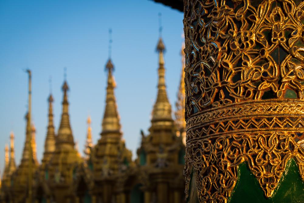 Glass mosaic and stupas at Shwedagon Pagoda. Yangon, Myanmar