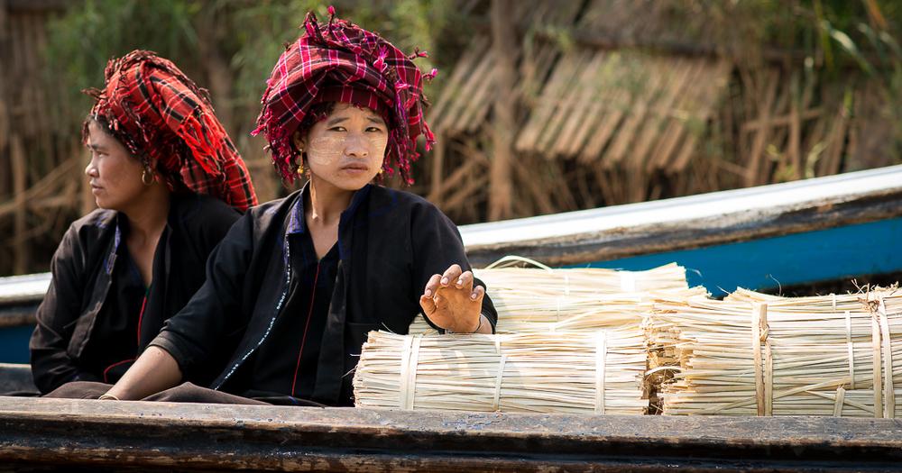 Pai Ou (??? not sure of the spelling here) women transporting lashings to tie bamboo. Inle Lake, Myanmar