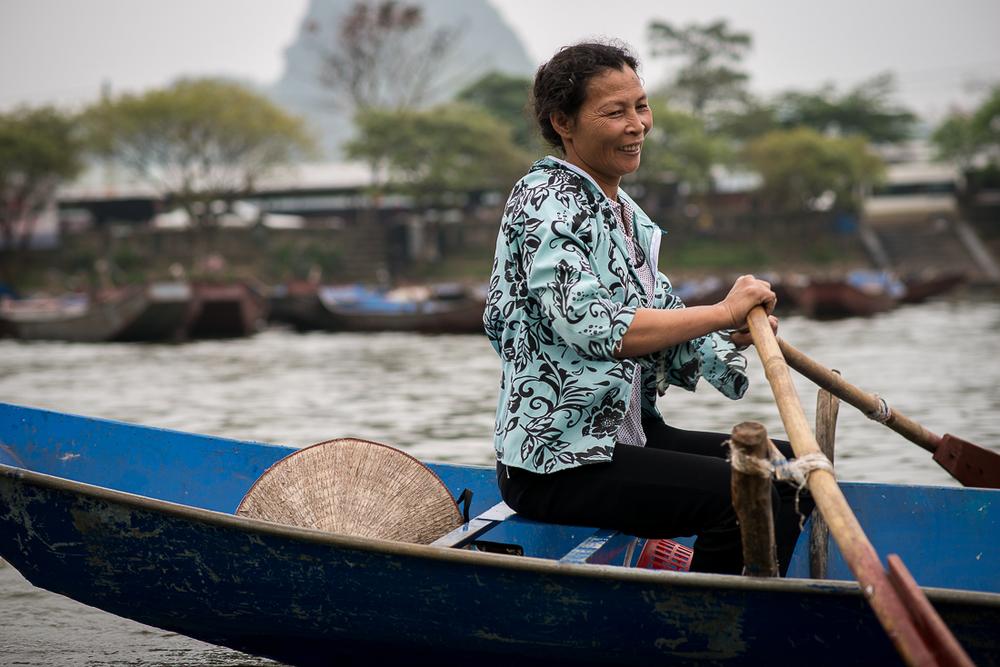 One of the amazing boat rowers. Hanoi, Vietnam