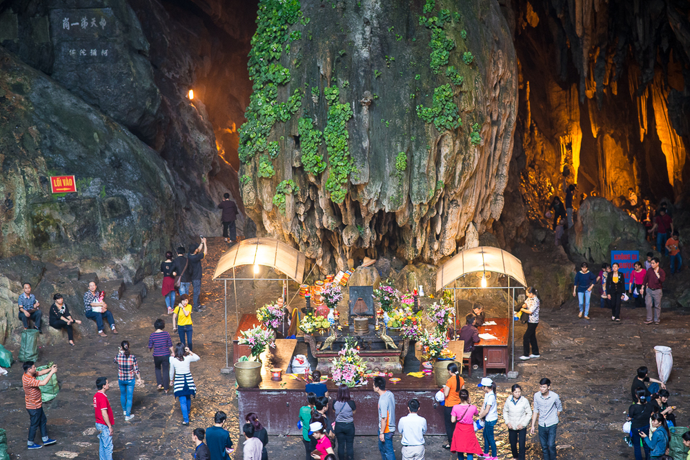 Altar at the opening of the cave at Perfume Pagoda. Hanoi, Vietnam