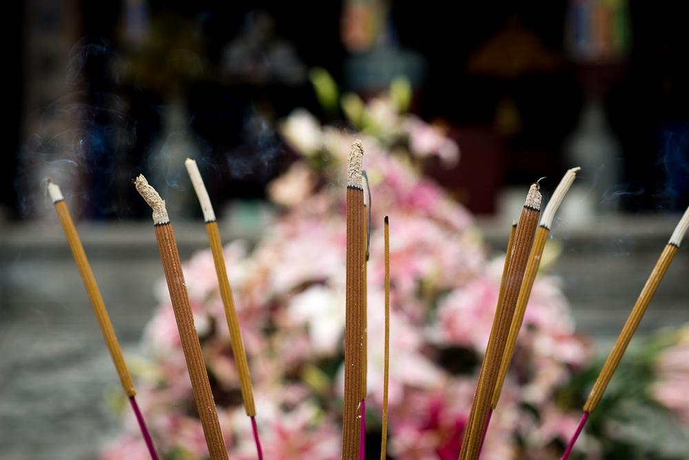 Burning Incense. Perfume Pagoda. Hanoi, Vietnam