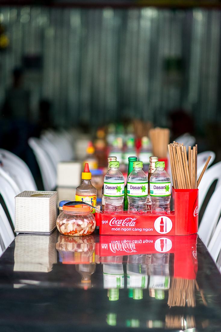 Typical restaurant set up. Perfume Pagoda. Hanoi, Vietnam