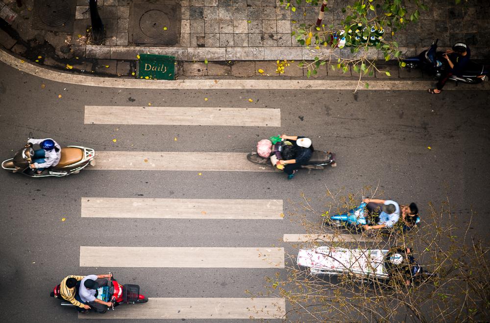 Hanoi traffic from my hotel balcony. Hanoi, Vietnam