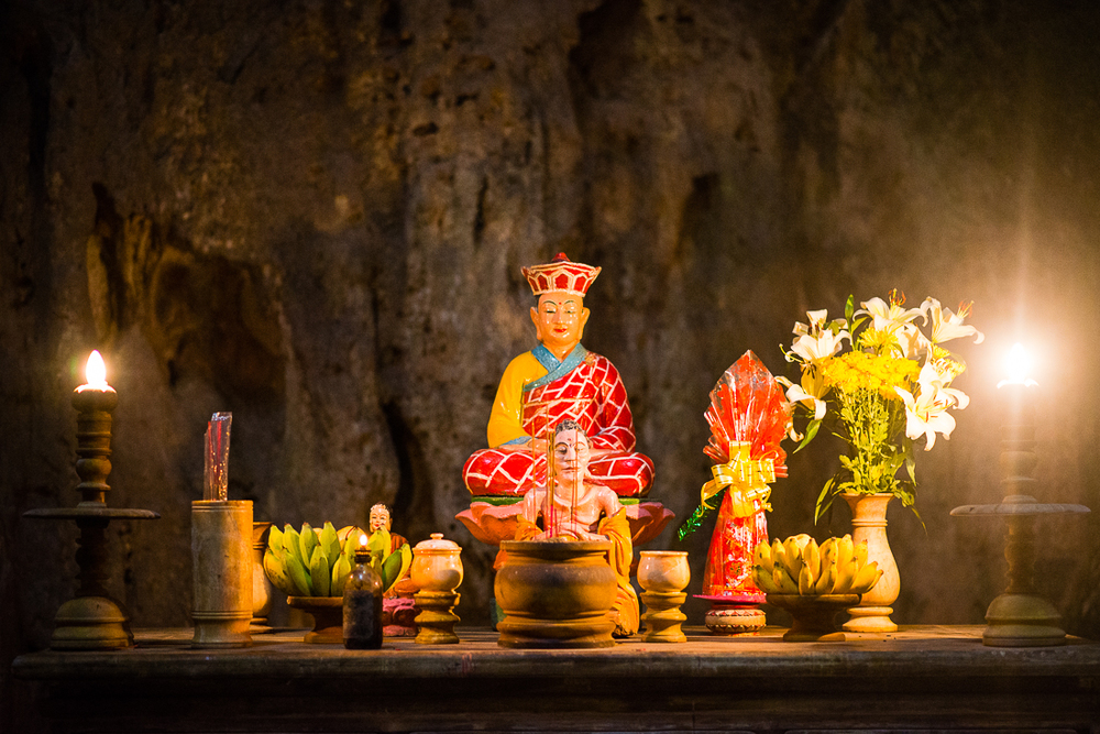 Altar in one of the caves on Marble Mountain. Hoi An, Vietnam