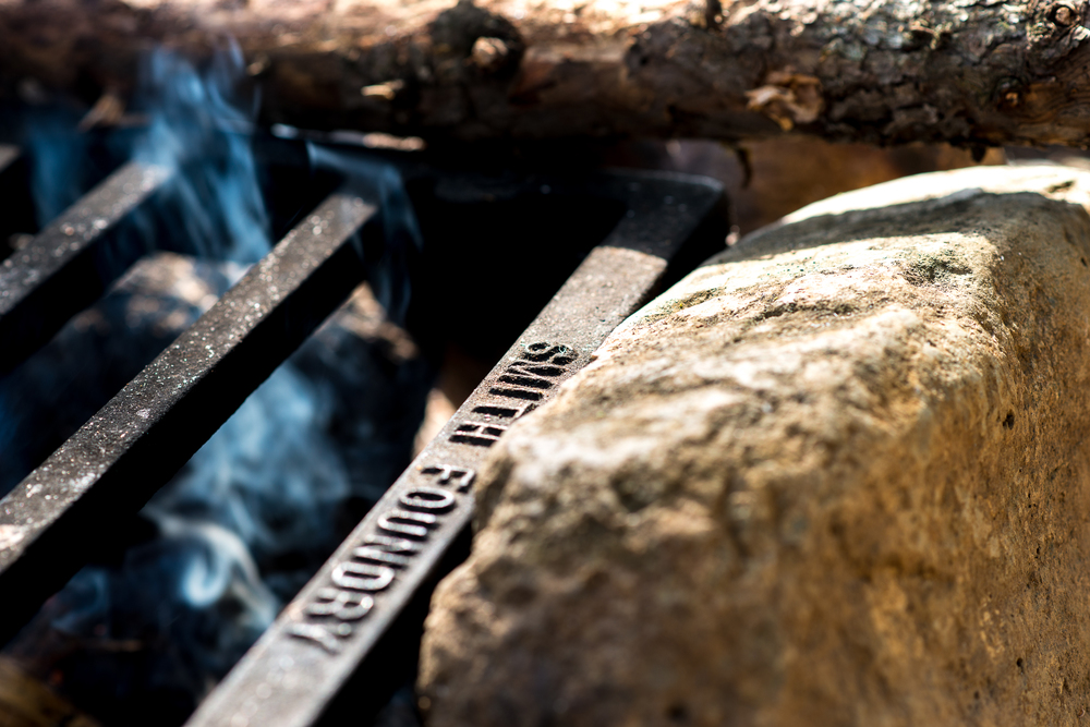 Campfire and Fire Grate on Long Island Lake site.