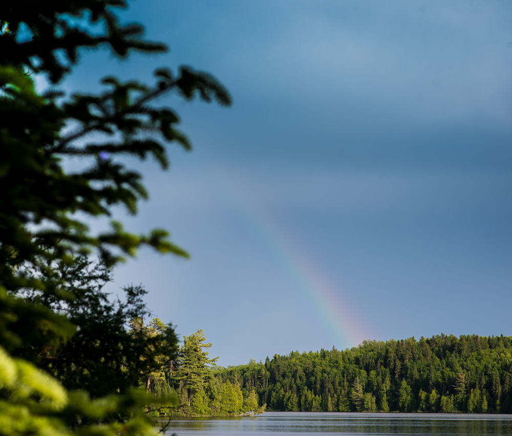 Rainbow after the storm on Long Island Lake