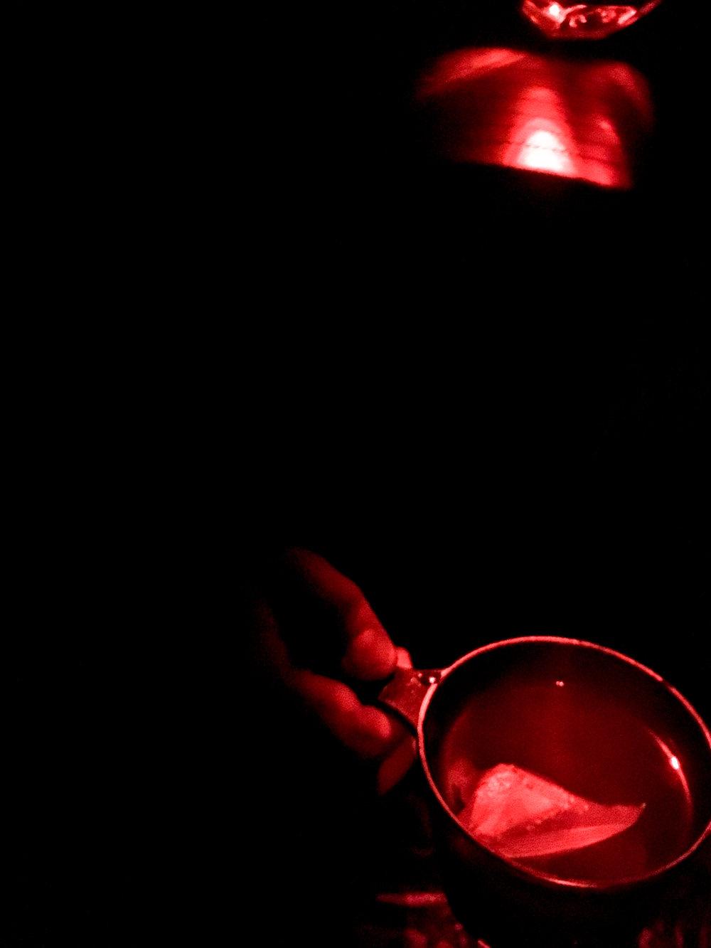 Tea by the light of Ben's headlamp...