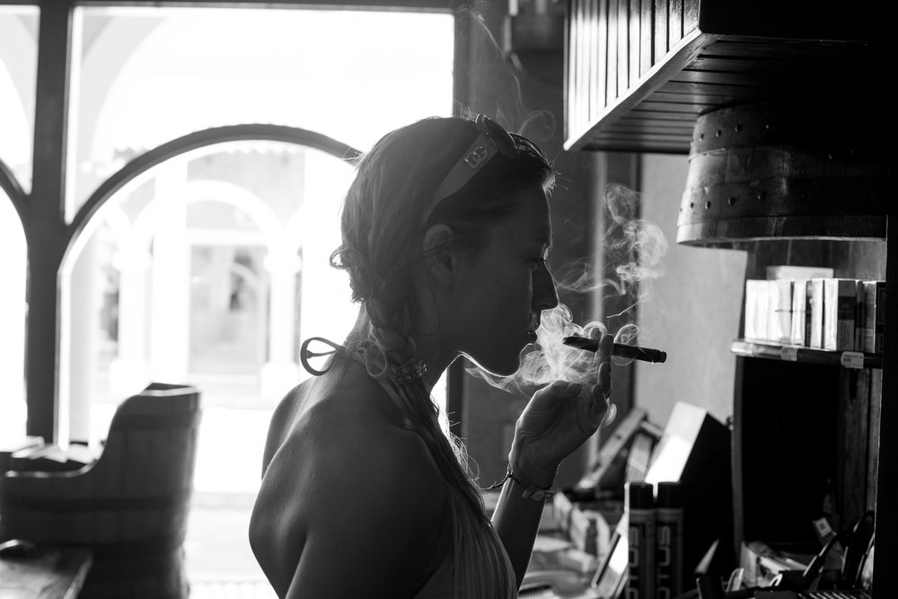 Kasha Enjoying Her Cigar...