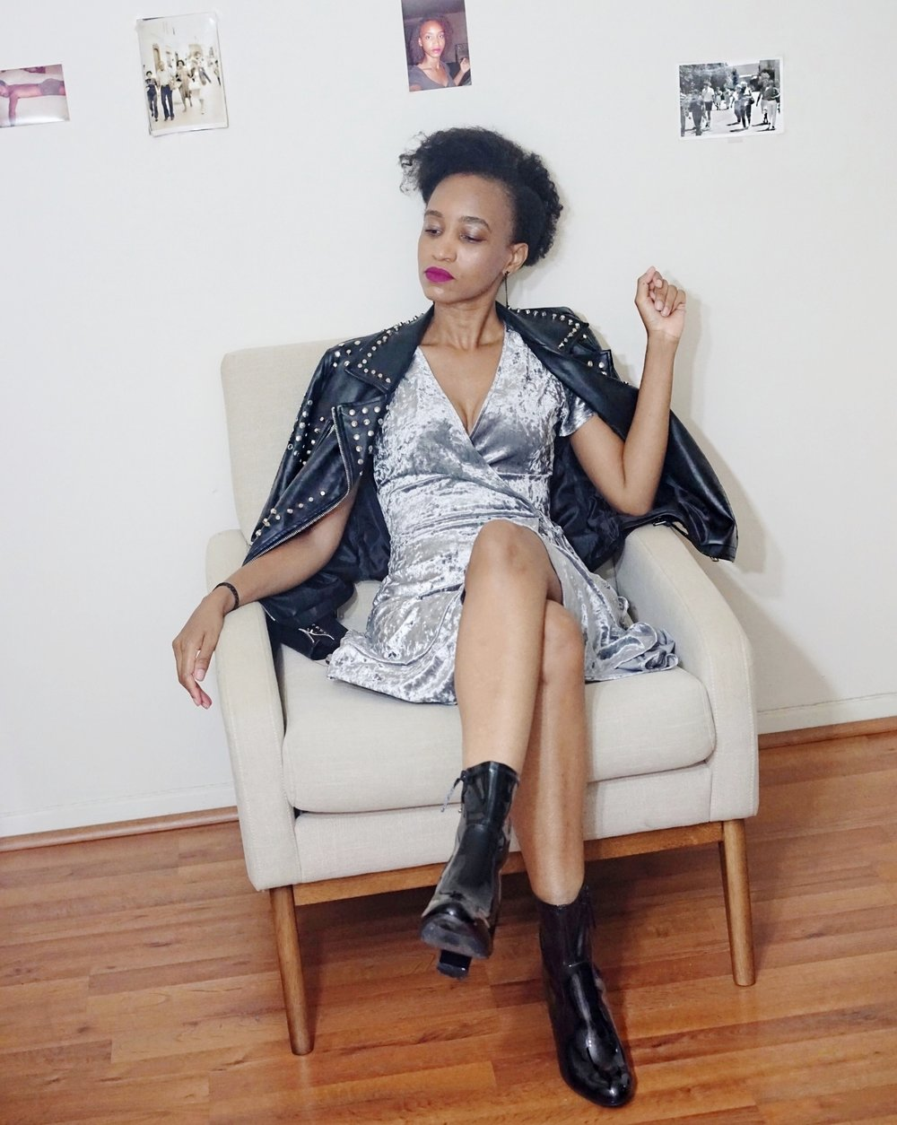 christine_the_style_d_affaire_aqua_crushed_velvet_faux_wrap_dress_studded_faux_Leather_moto_jacket_hm_earrings_smashbox_always_on_Matte_liquid_lipstick_material_girl_shoes_ankle_booties_aldo.jpg