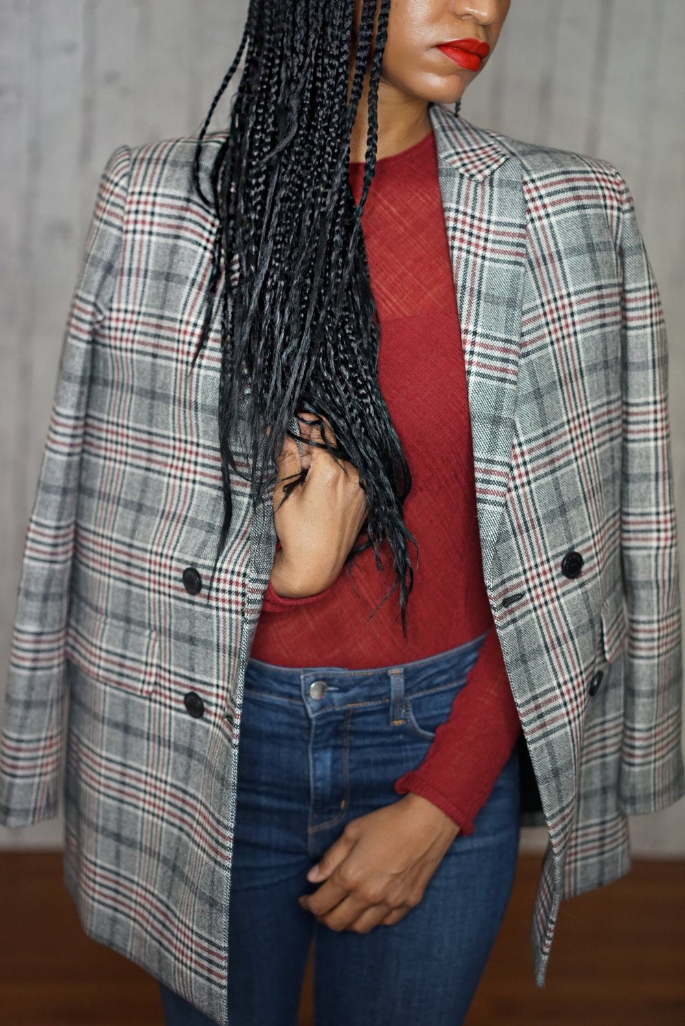 christine_the_style_affaire_sandro_paris_plaid_jacket_blazers_maje_burgundy_top_material_girl_boots_aldo_l_agence_jeans_blue_outfit_hm_earrings_fenty_beauty_lipstick_nyc.jpg