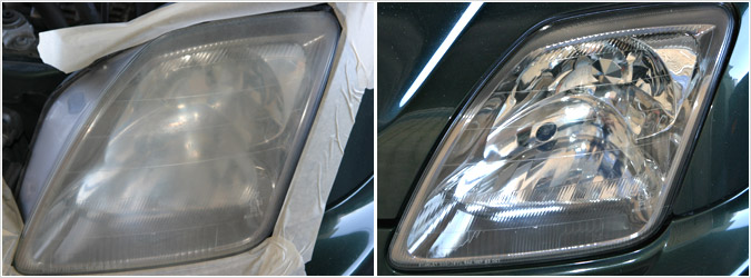 Benefits: 1. Restored headlights will improve the appearance and value of your car. 2. SAFETY - Your safety when driving at night is very important – obscured, dim, yellow headlights can be very dangerous. 3. It will make it easier to sell and increase your vehicles trade in value. Just having yellow, hazy headlights ruins the appearance of a vehicle regardless of how you take care of it.  4. It will save you hundreds in new headlights replacements! The average plastic headlight costs around $200+ to replace (not including installation costs. Some lenses can cost in excess of $350-$400 each (just call your local BMW or Audi dealer). Fix Your Oxidized Headlights Cloudy or severely oxidized headlights can be found on nearly 7 out of every 10 vehicles over three years old on the road today. Poor driving visibility is the leading cause of nighttime traffic accidents. Most drivers with vehicles over 3 years old are likely driving with cloudy or oxidized headlights that greatly need to be replaced. Standard headlights show objects 150 feet ahead.Yellow, cloudy headlights reduce a driver's night vision by 50% or 75ft. Oxidized headlights can decrease light projection by 75% or 37.5ft of visibility exposing the driver to an even higher risk of being involved in an accident.
