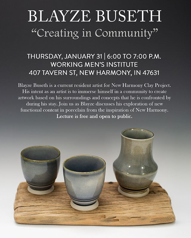 Join us next Thursday 6pm for Blayze Buseth's artist lecture! . . . #nhcp #madeinnewharmony #artistresidency #contemporaryceramics #porcelain #pottery