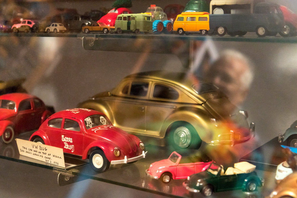 A special part of Hall's toy car collection is the red 1970 Beetle, which topped his wedding cake.