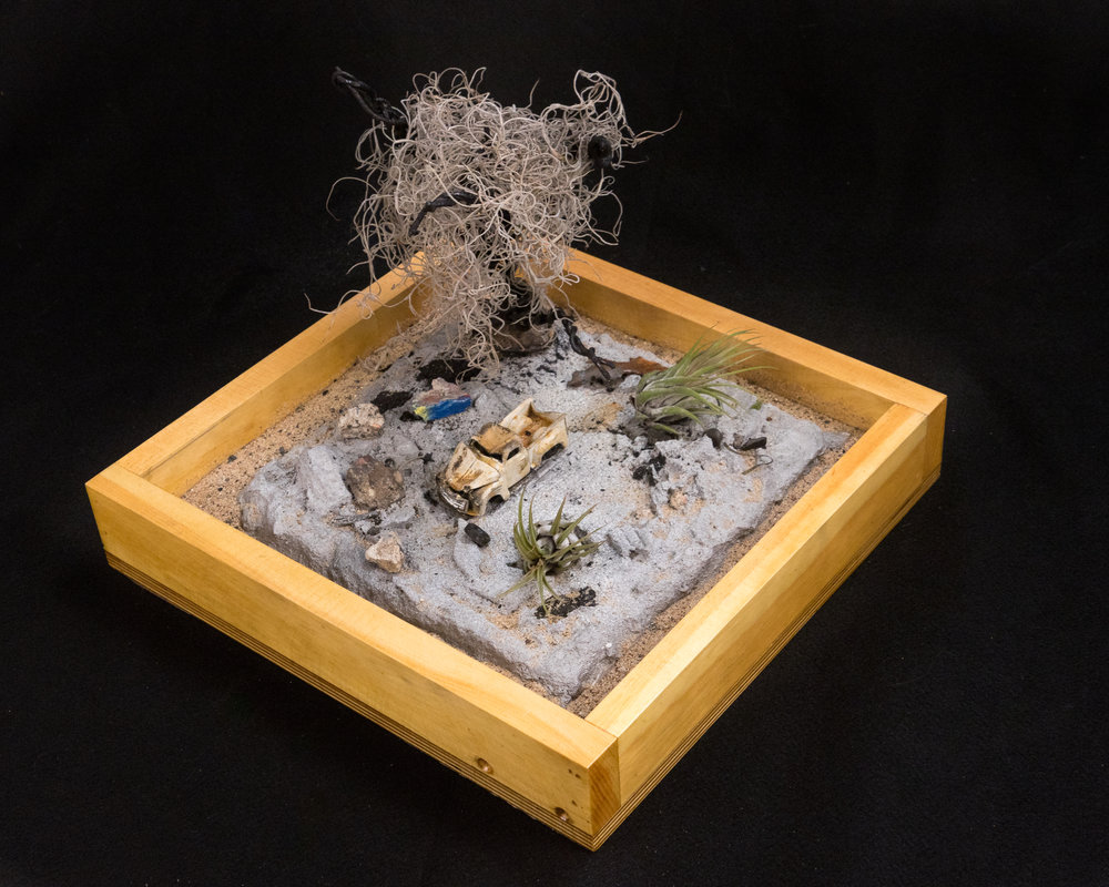 Miniature garden - Desert [Cast Aluminum with embedded asphalt and concrete.