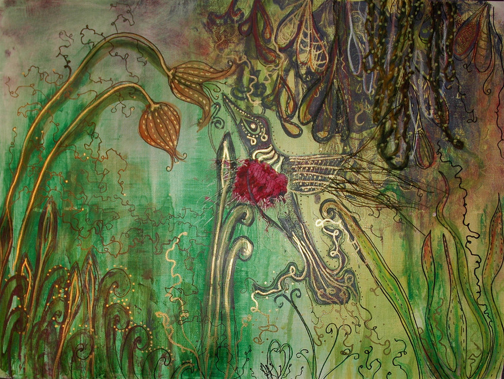 Stricken  mixed media painting, 2008