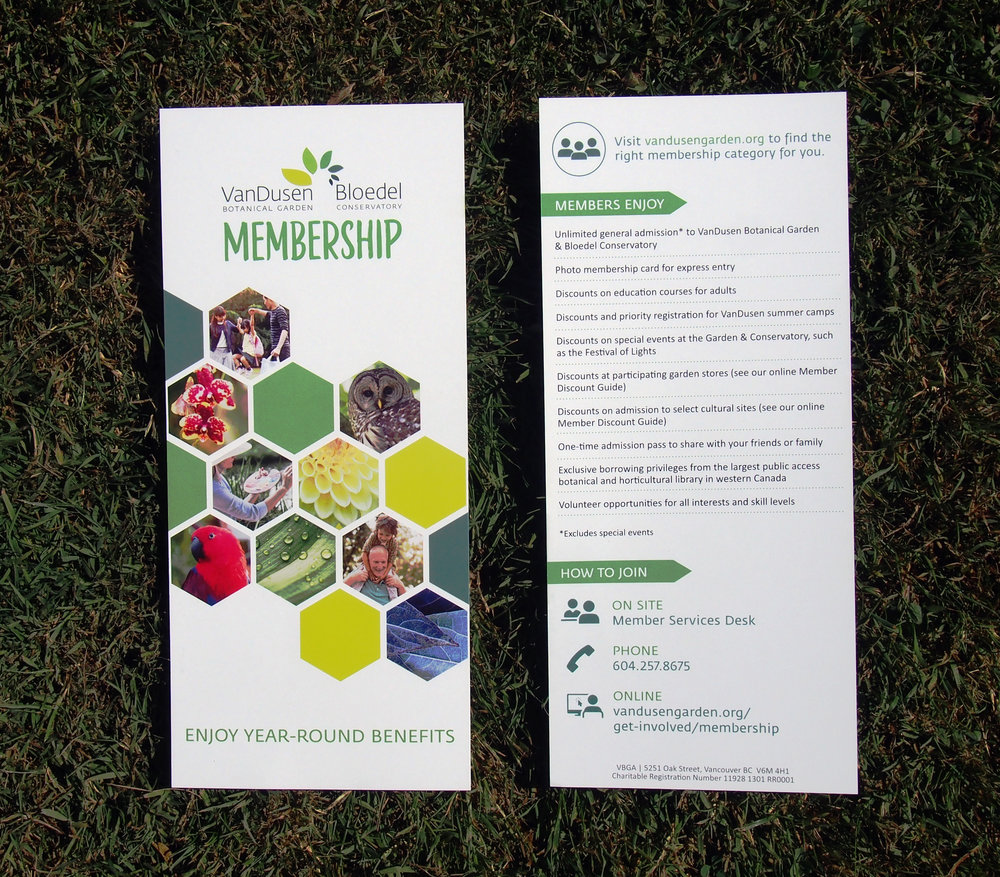 Rack Card:  Vancouver Botanical Gardens Association Membership