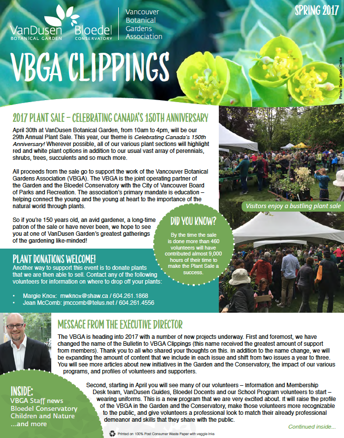 Newsletter (printed):  Vancouver Botanical Gardens Association