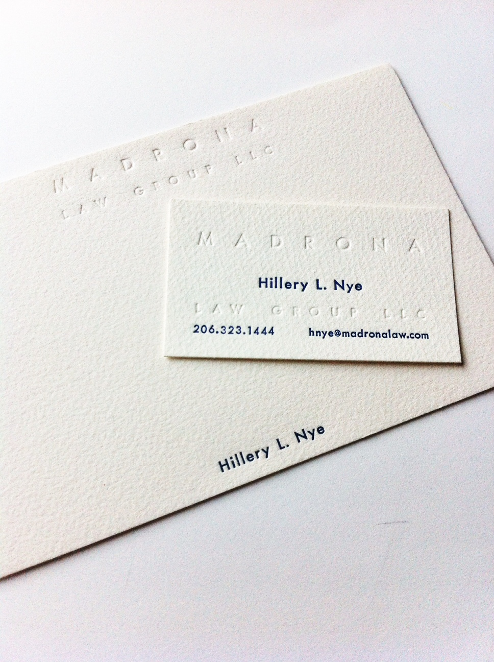 Business Stationary for Hillery L. Nye, made with hand set type from our vintage collection here at Bremelo Press.
