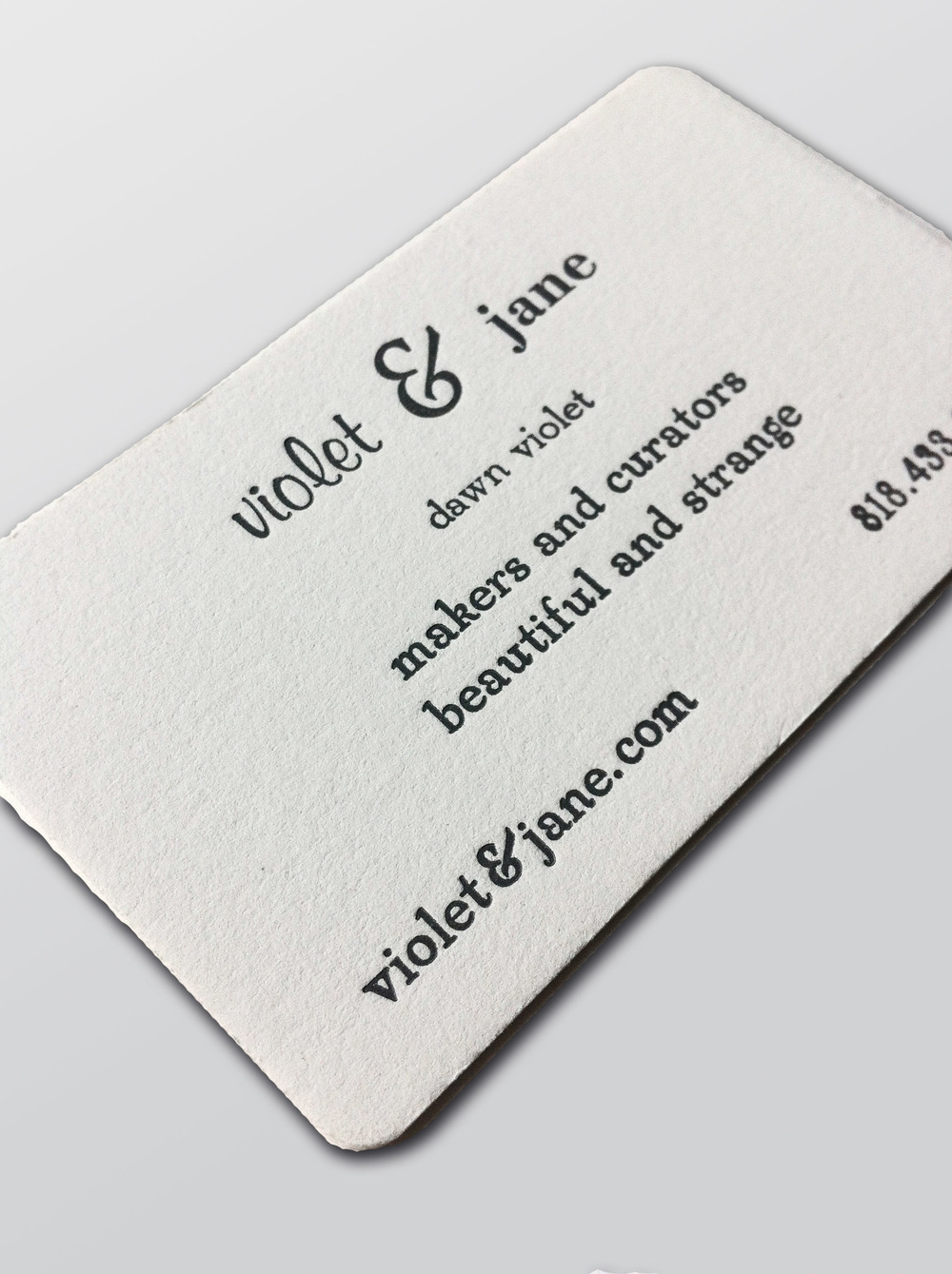 Violet & Jane's business card. All hand set type.
