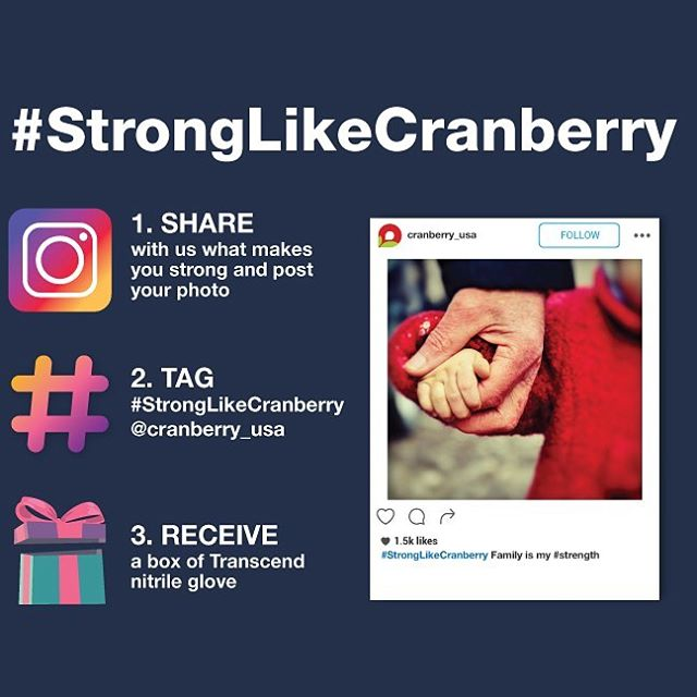 We provide #strength because we understand it's important! Share what gives you strength by hashtagging #StrongLikeCranberry and tagging @cranberry_usa on Instagram from now to April 19th, 2018. All participants will receive a free box of our new Transcend nitrile gloves and your post will be featured on our website! ⠀ ⠀ #dental #dentistry #infectioncontrol #hygiene #dentist #dentalhygienist #fit #dentalassistant #dentaladvisor #beyondprotection #tensilestrength #dentalstudent #protection #dentalgloves #dentalsupplier #dentallab #cranberry #cranberryusa #cranberrygloves #likesilk #soft #strong #latexfree #powderfree #disposable #gloves #transcend #nitrilegloves
