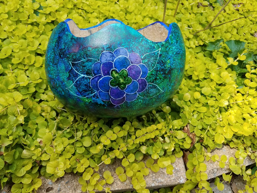 Alcohol Ink Gourd Fruit Bowl with Flower     to my list of classes. Nothing is safe from the ink... porous and nonporous surfaces a like. I am working my plans to teach art at the montessori school, Adult Classes at the OxAA, and Gourd Gatherings. And spend the rest of time preparing to make inventory for the Christmas season.