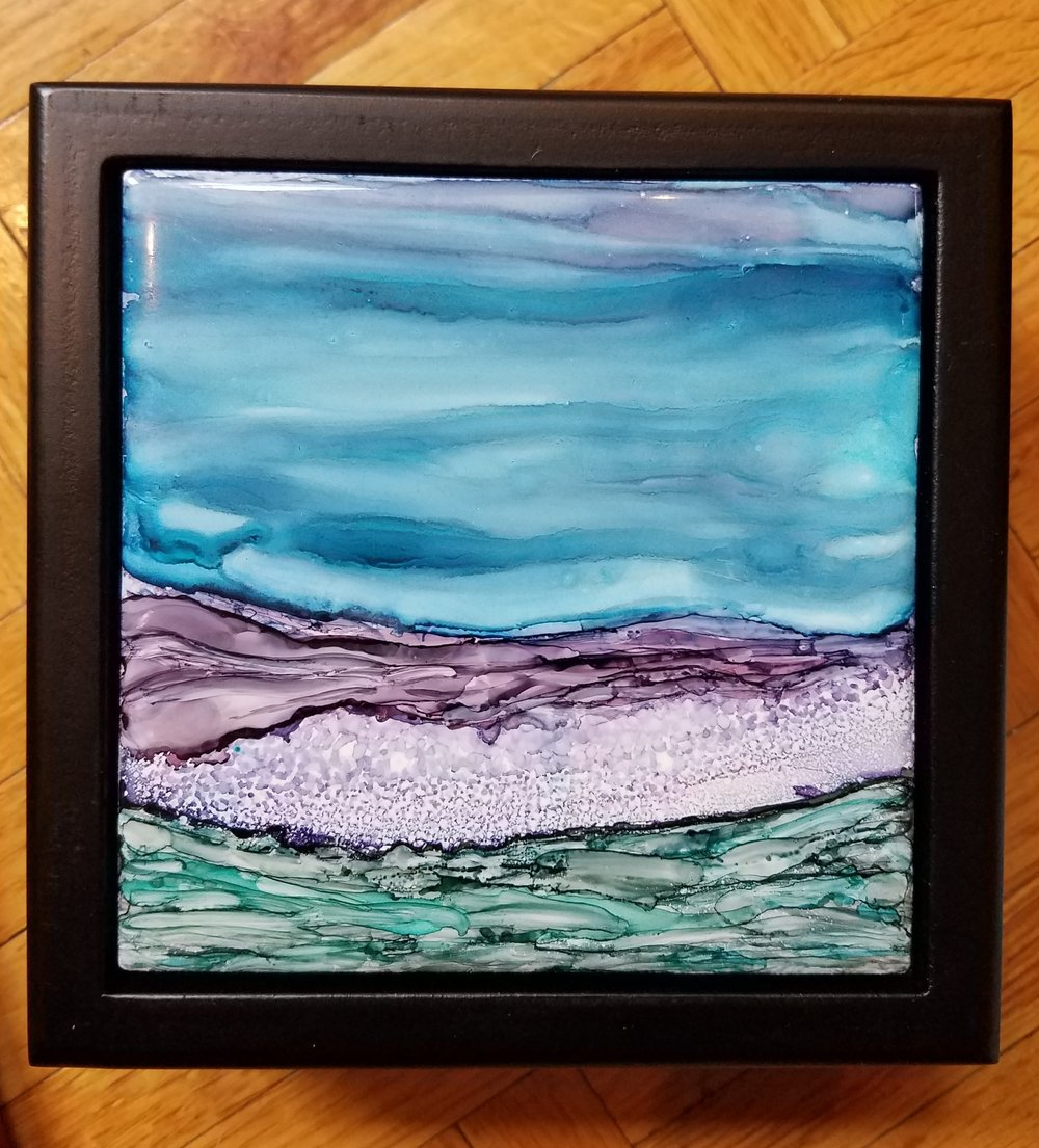 4x4 & 6x6 Alcohol Ink tiles in keepsake boxes