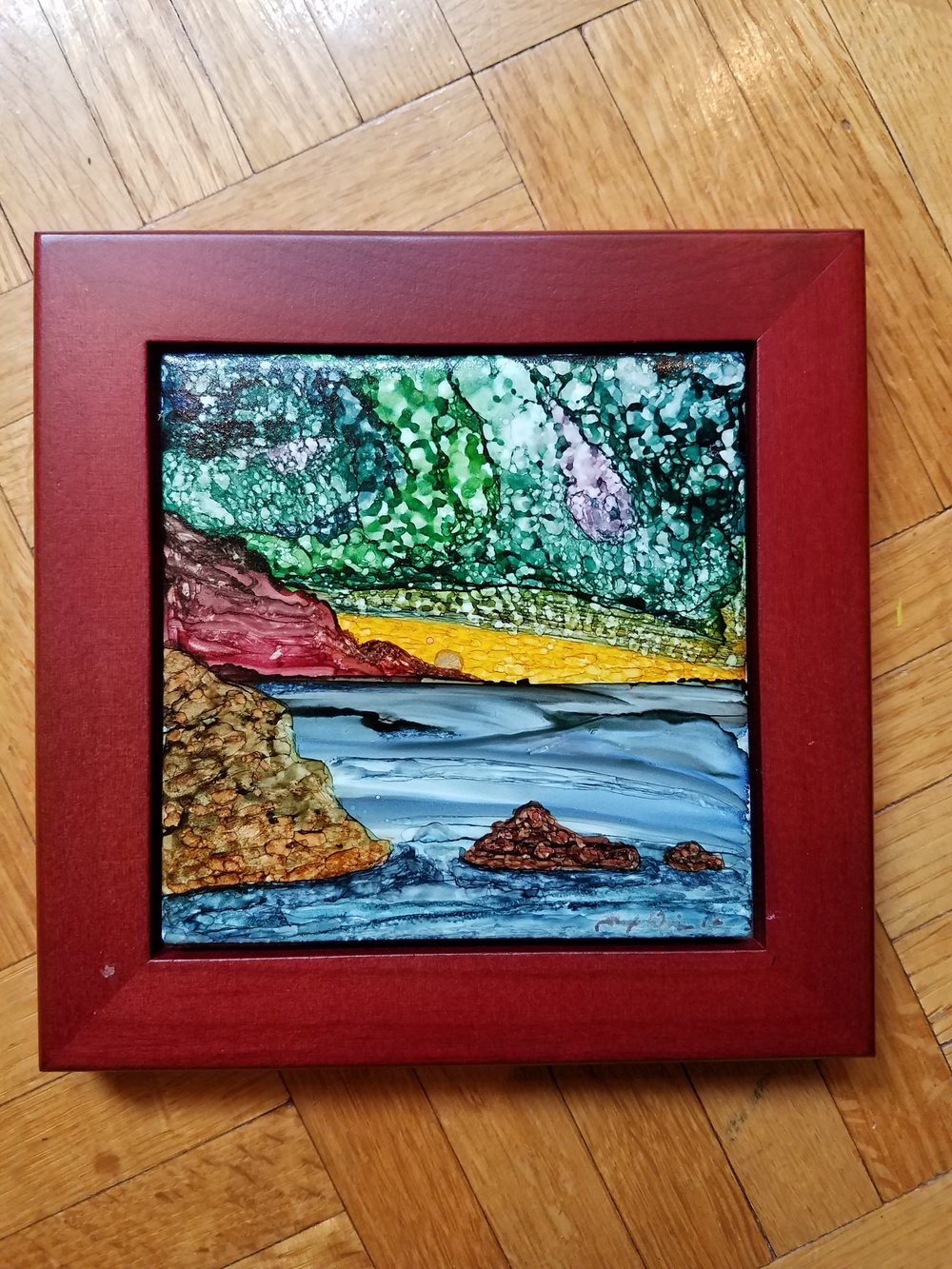 4x4 & 6x6 framed Alcohol Ink tiles