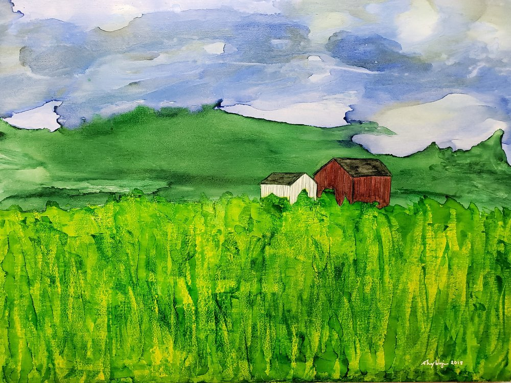 Hazy morning at Liondale Farm in Unionville#2    12x16 Alcohol Ink and on panel    $450