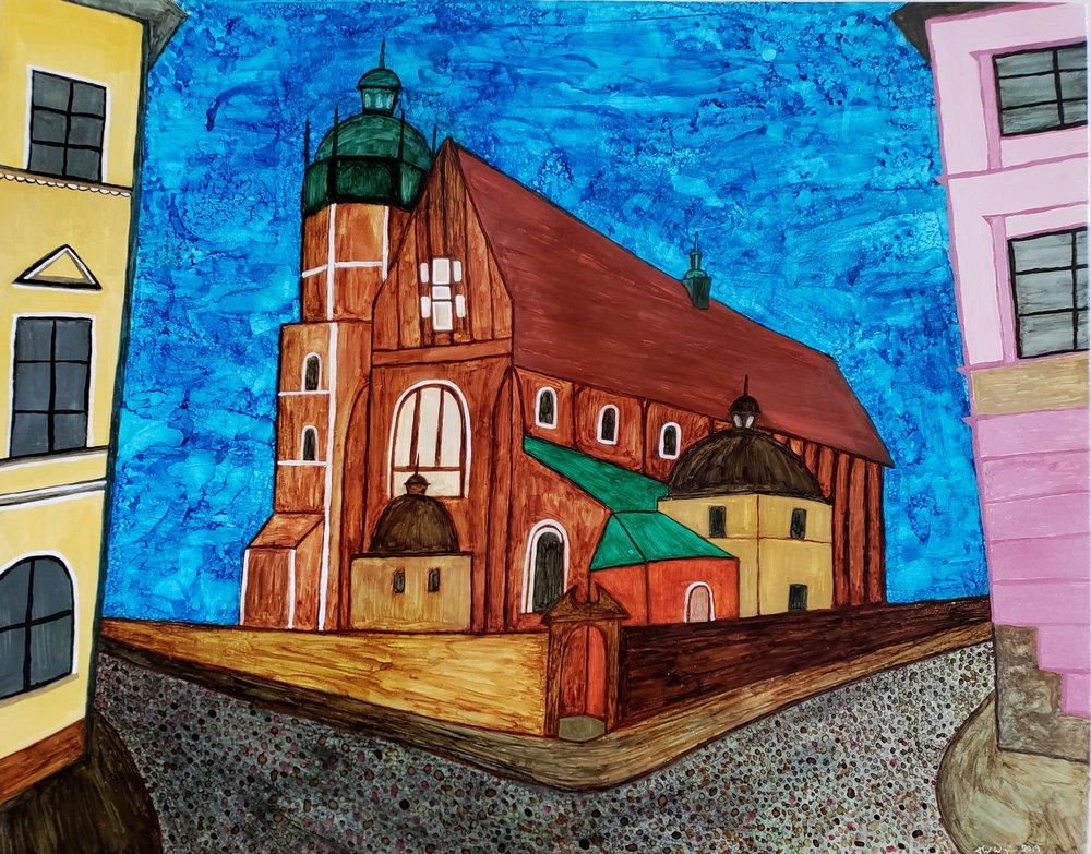 Bazylika Bożego Ciała  (The Corpus Christi Basilica) 2019    16x20 Alcohol ink on Ecstatic Wax Board    $450