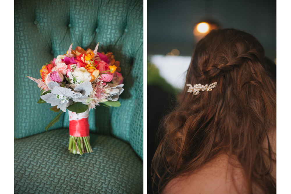 Colorful Wedding Bouquet and Bridal Hair Style | Endicott Estate Wedding - Dedham, MA.  | Kelly Burgess Photography