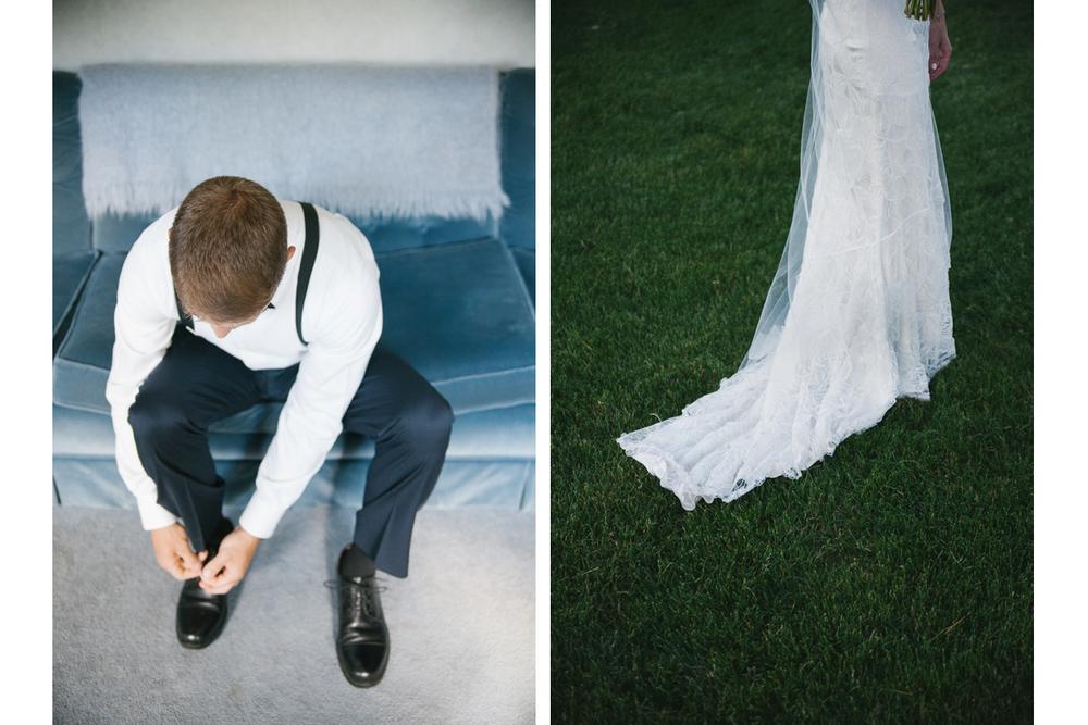 Groom Getting Ready and Wedding Gown Train | Ranch Golf Club Wedding - Southwick, MA. | Kelly Burgess Photography