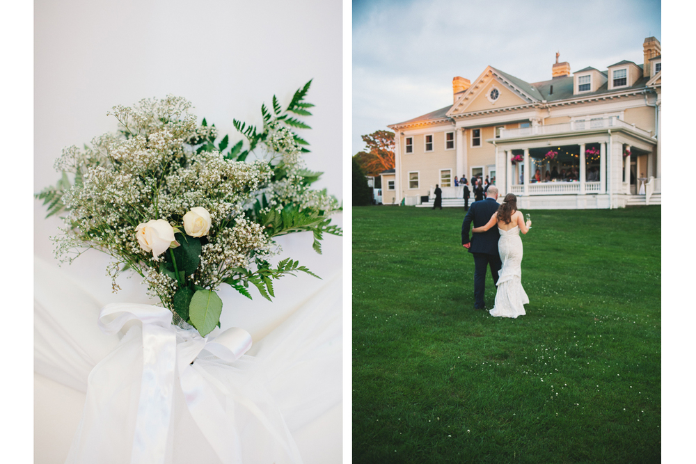 Wedding Flowers and Bride and Groom at Wedding Reception | Endicott Estate - Dedham, MA. | Kelly Burgess Photography