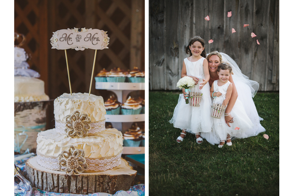 Rustic Wedding Cake and Bride with Flower Girls | Kelly Burgess Photography