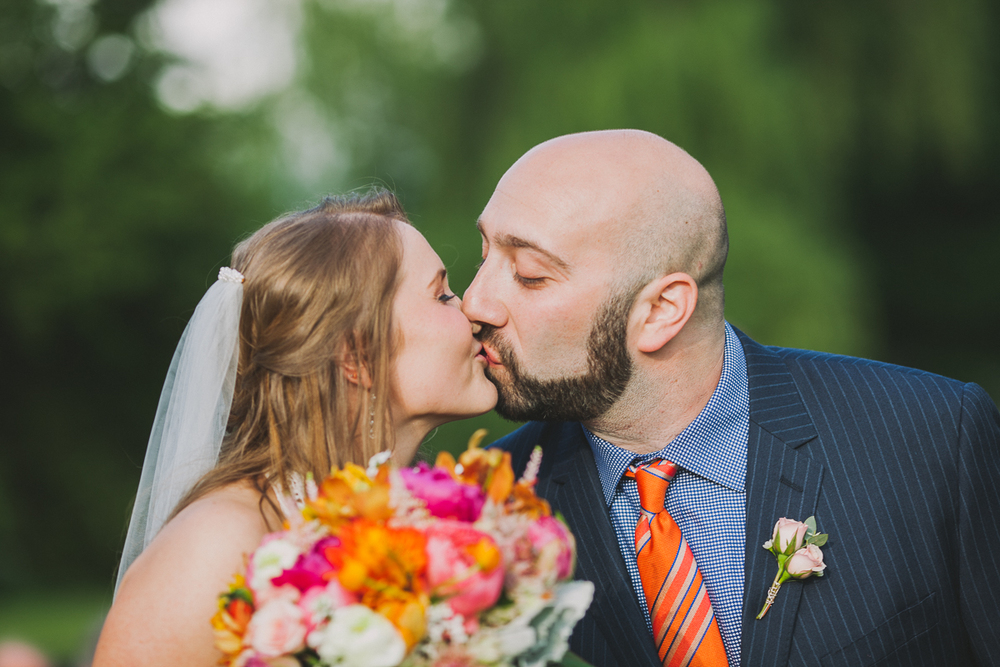 Bride and Groom First Kiss | Endicott Estate Wedding - Dedham, MA. | Kelly Burgess Photography