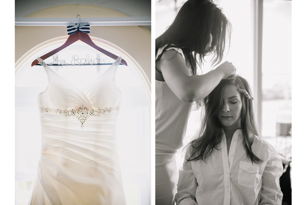 Wedding Dress and Bride Getting Her Hair Done | Winslow Estate - Orleans, MA. | Kelly Burgess Photography