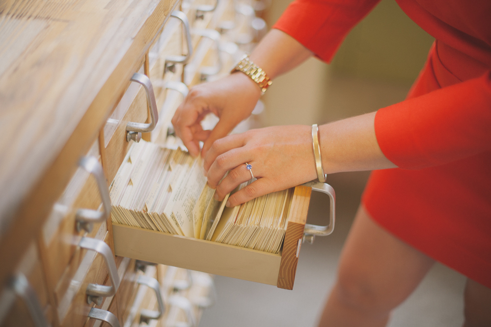 Boston Public Library Card Catalog Engagement Photos | Copley Square - Boston, MA. | Kelly Burgess Photography