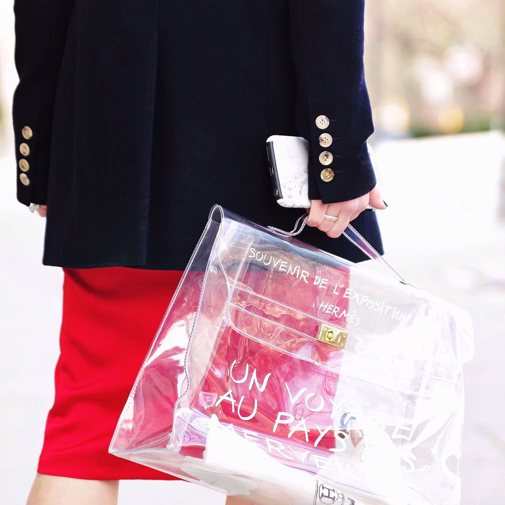black_blazer_red_silk_Dress_hermes