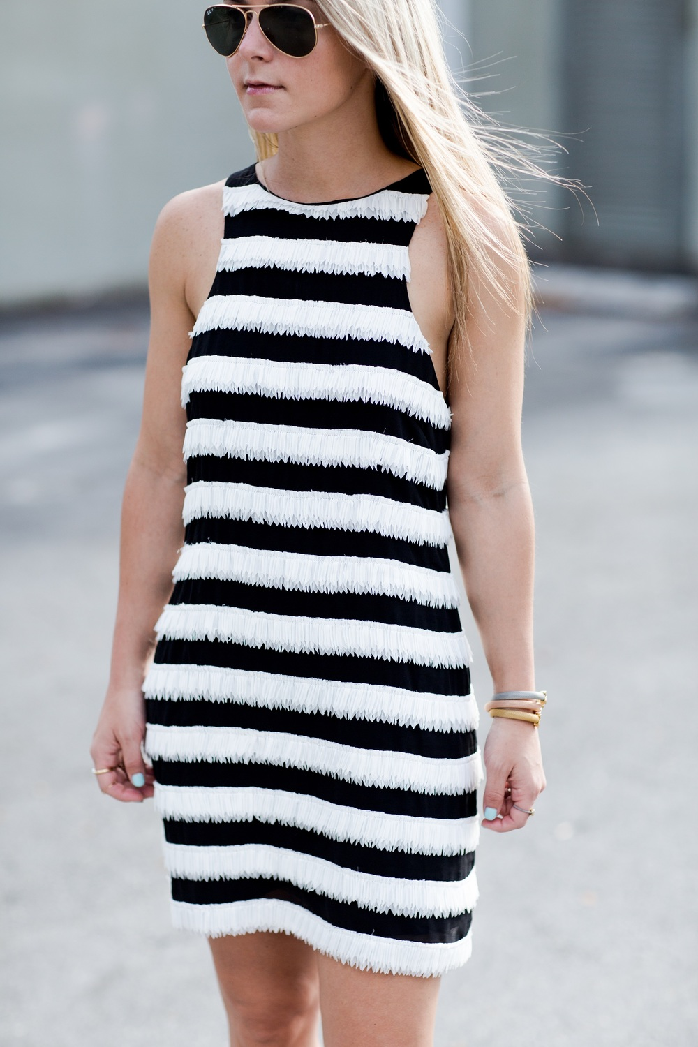 elliatt_dress_black_White_fringe_Dress