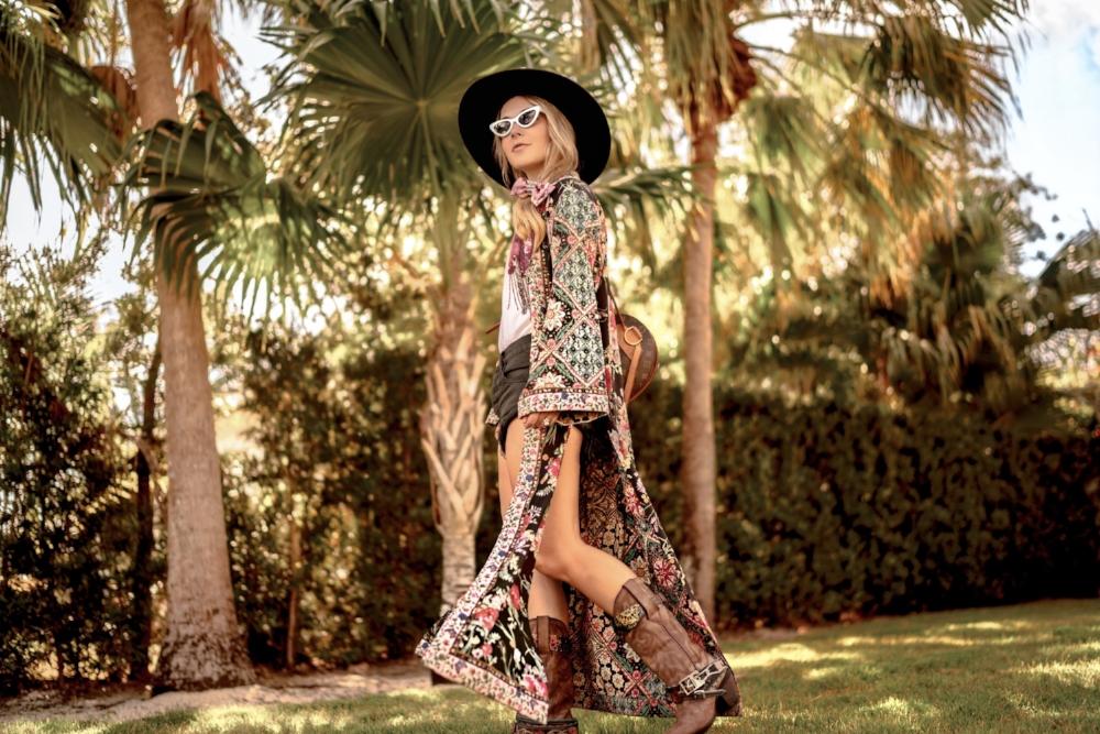 Christie Ferrari Styling kimono for festival season and Coachella