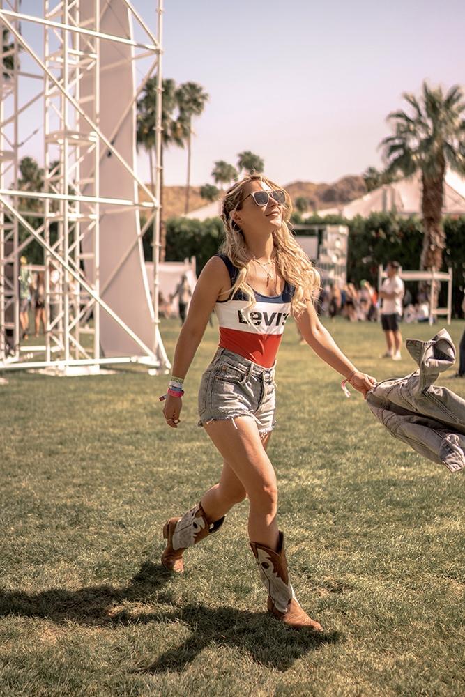 Christie Ferrari Festival Bodysuit Levis's outfit at Coachella