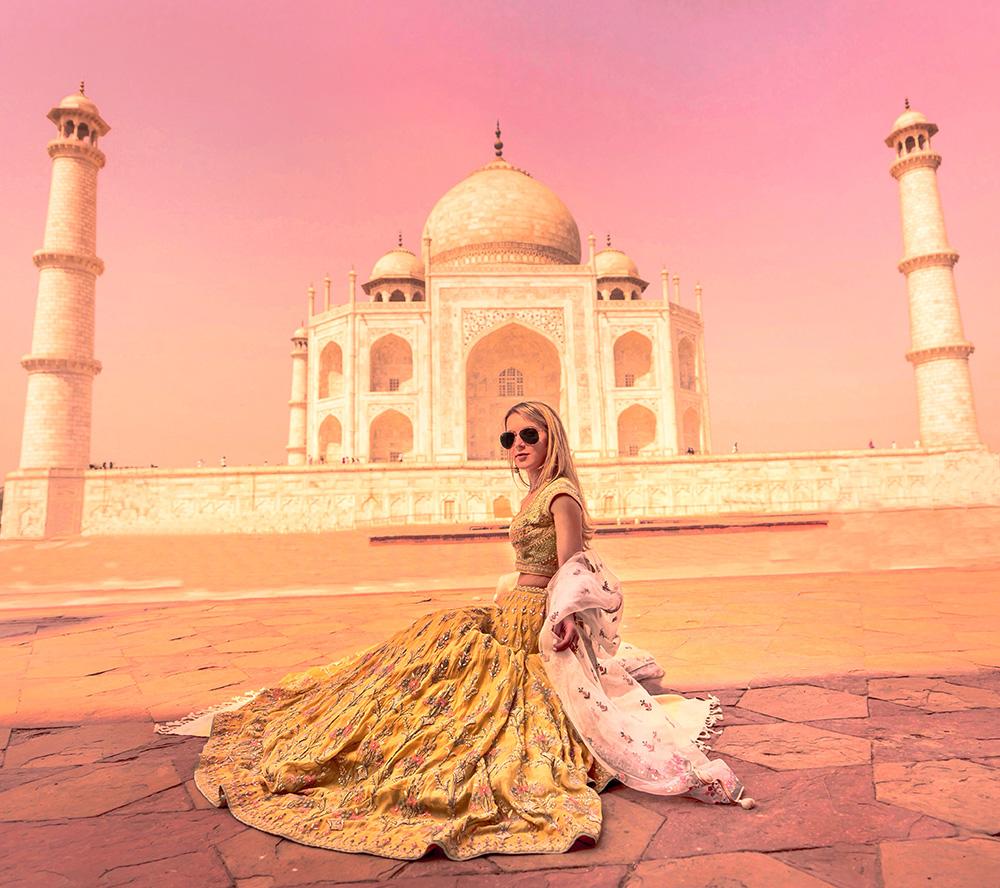Christie ferrari wears anita dongre at the taj majal in agra india