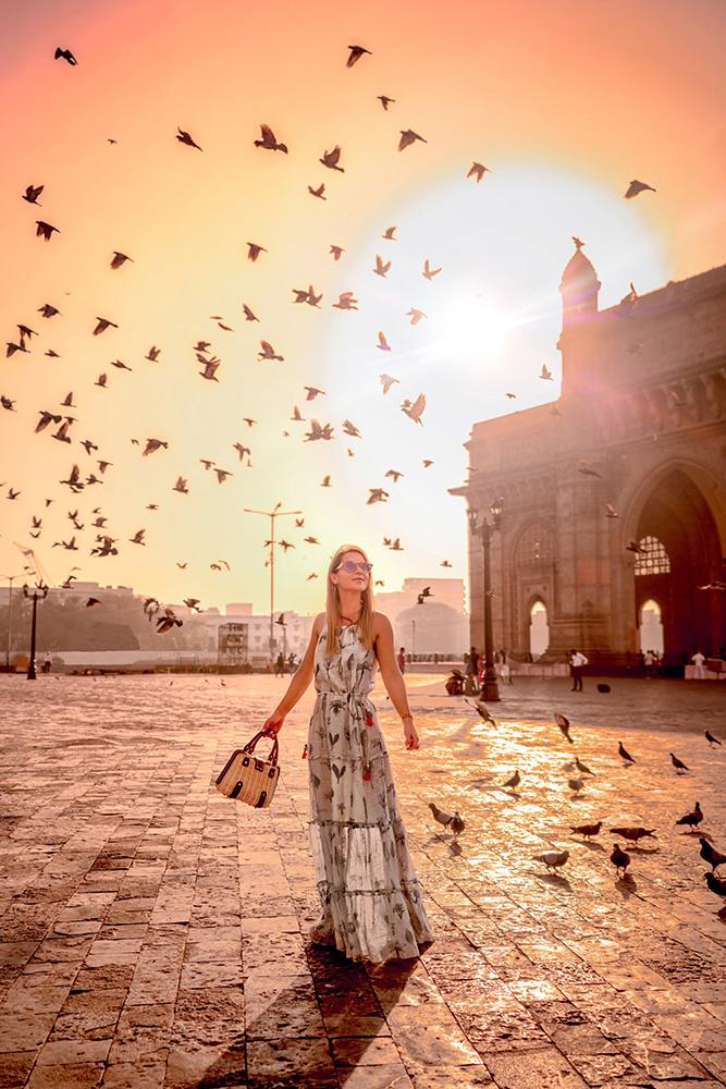 Christie Ferrari wears Anita Dongre at the Gateway of India in Mumbai